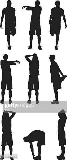 male athletes stretching out - touching toes stock illustrations, clip art, cartoons, & icons