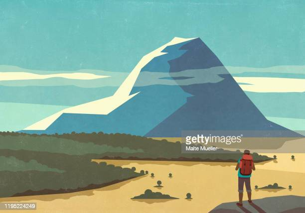male backpacker enjoying sunny scenic mountain landscape view - image technique stock illustrations