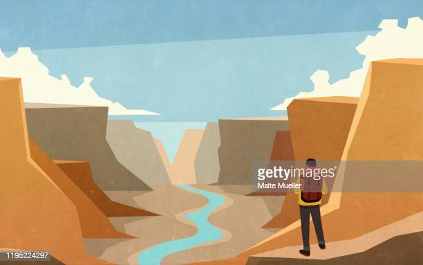 male backpacker looking at majestic canyon view - exploration stock illustrations