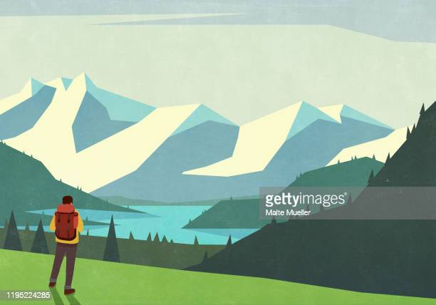 male backpacker looking at tranquil mountain landscape view - men stock illustrations