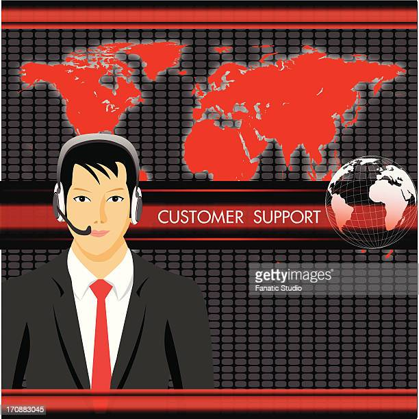 Male customer service representative with India highlighted in the map
