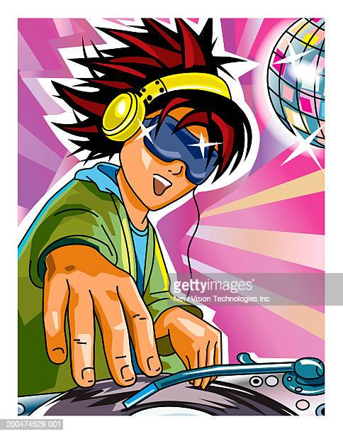 Male DJ spinning records