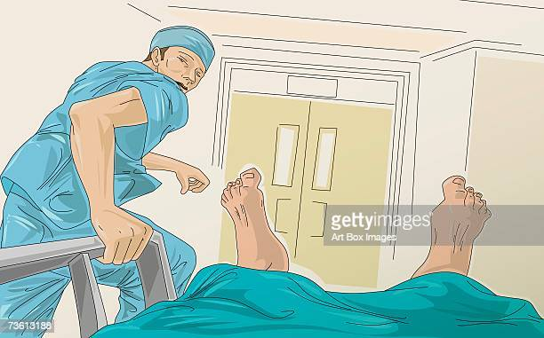 male doctor running with a patient on the bed - operating gown stock illustrations, clip art, cartoons, & icons
