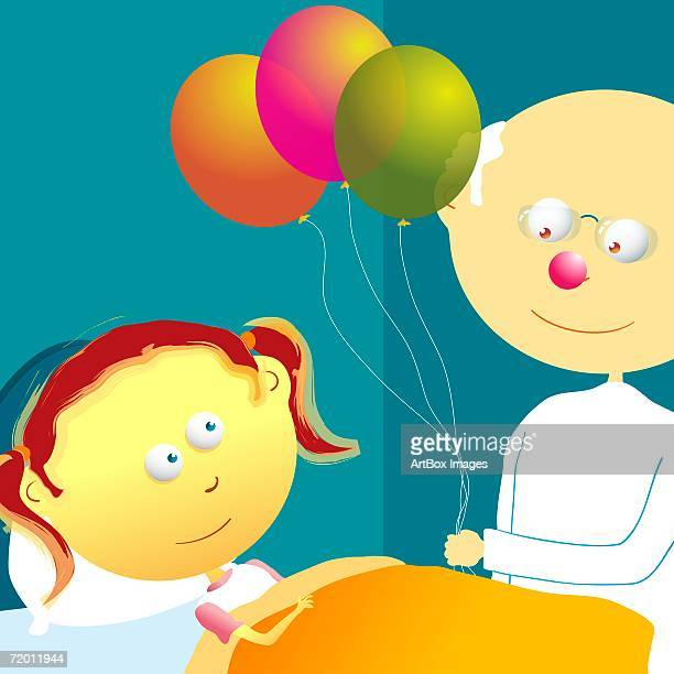 Male doctor standing near a patient and holding balloons