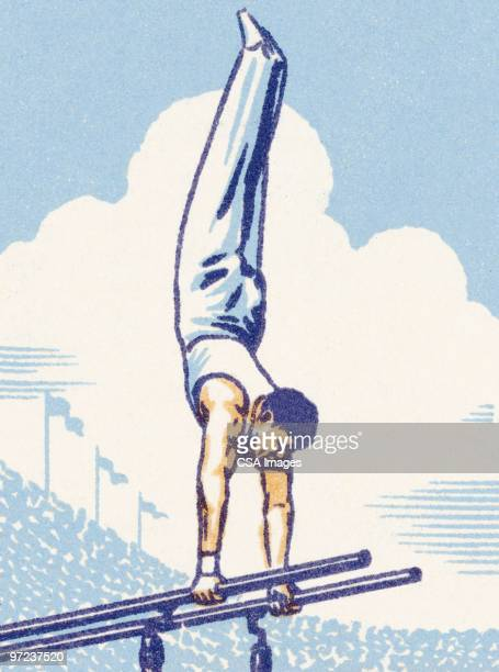 male gymnast - gymnastics stock illustrations, clip art, cartoons, & icons