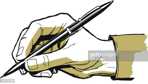 male hand with pen - document stock illustrations