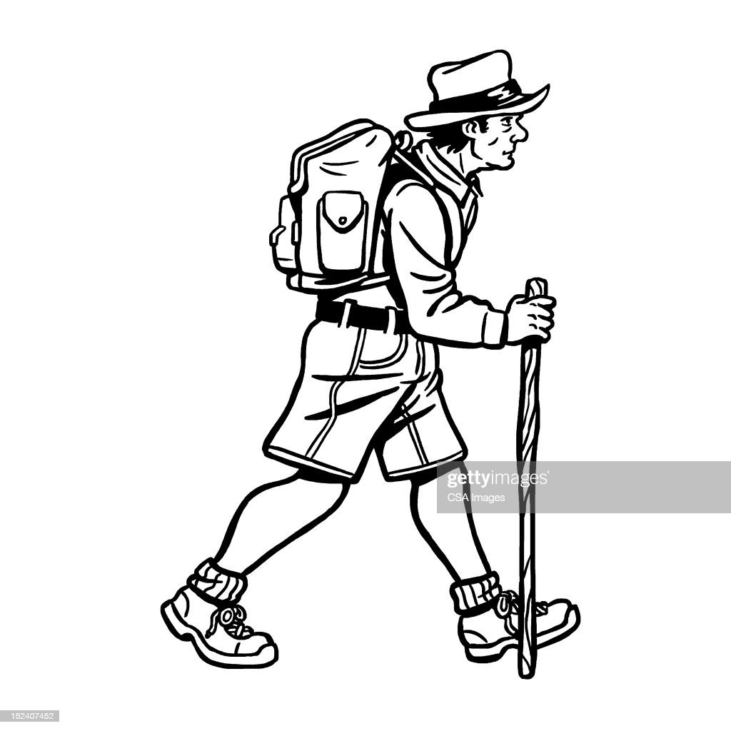 Caminhante masculino : Ilustração