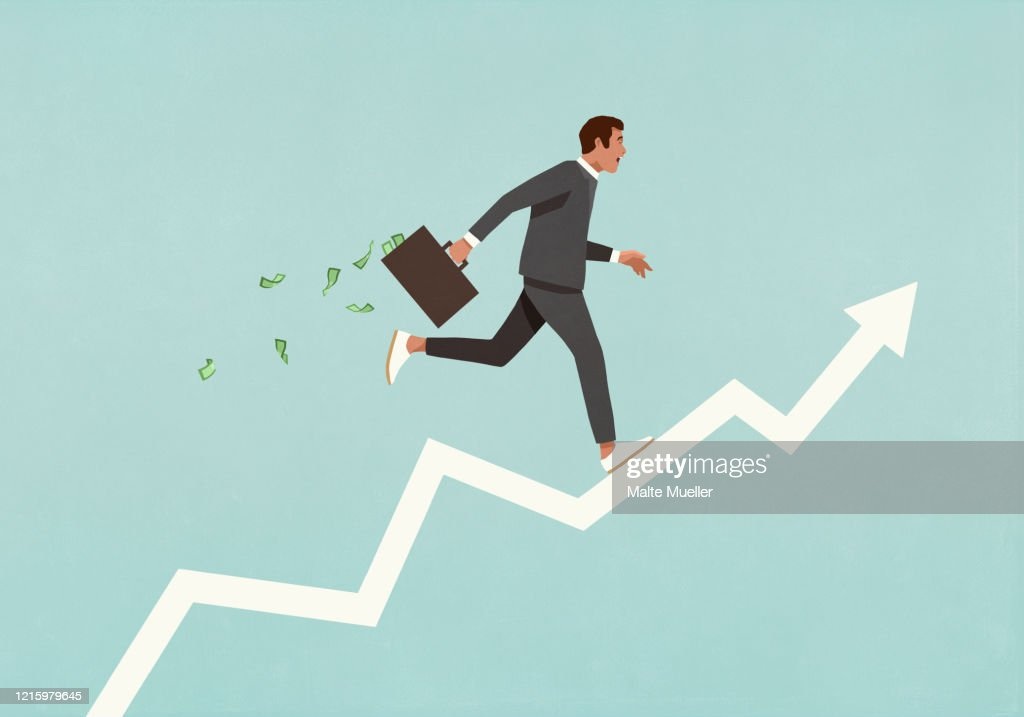 Male investor with briefcase full of money running up ascending arrow : Stock Illustration