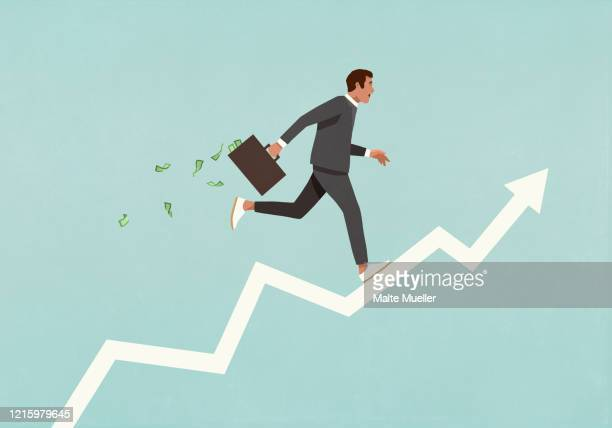 male investor with briefcase full of money running up ascending arrow - börsenhandel finanzberuf stock-grafiken, -clipart, -cartoons und -symbole