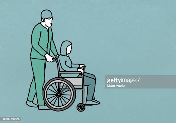 male nurse pushing woman in wheelchair - carer stock illustrations, clip art, cartoons, & icons