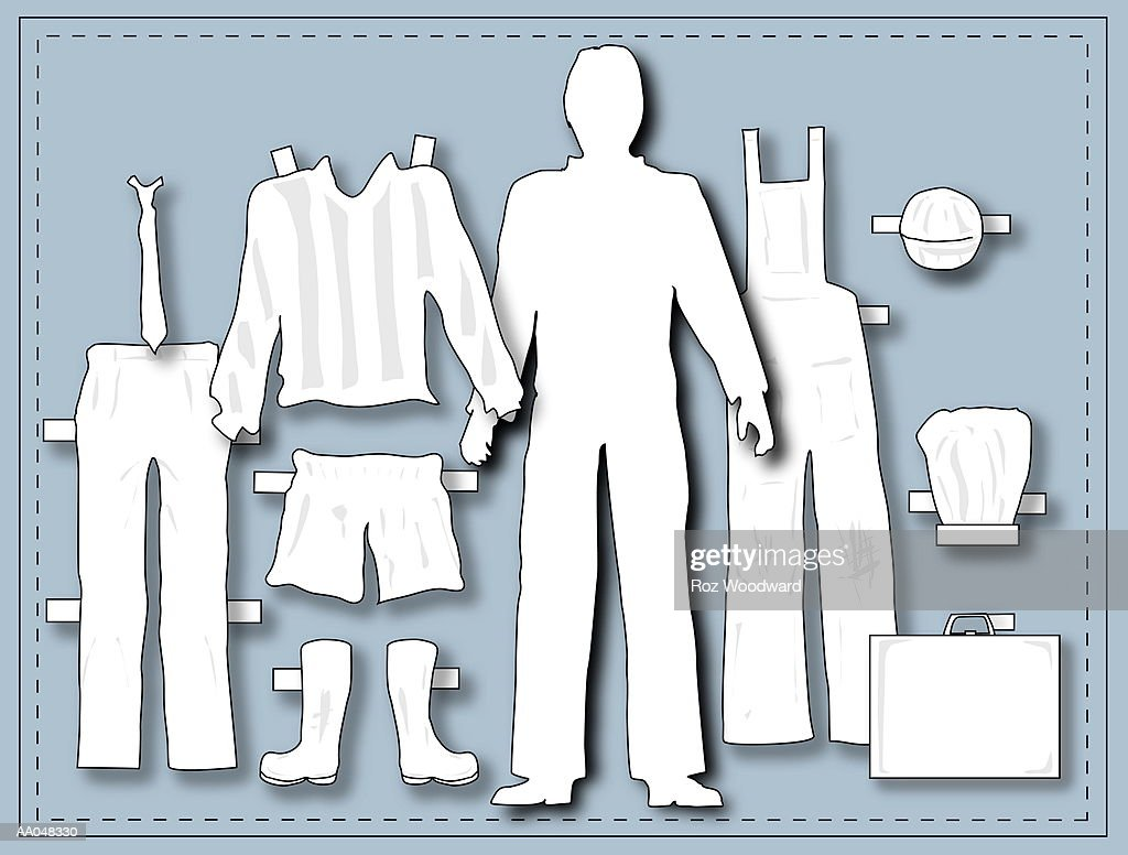 Male Paper Doll With Occupational Clothing Stock Illustration