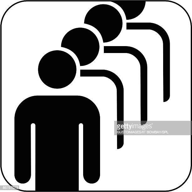 Male queue symbol against white background