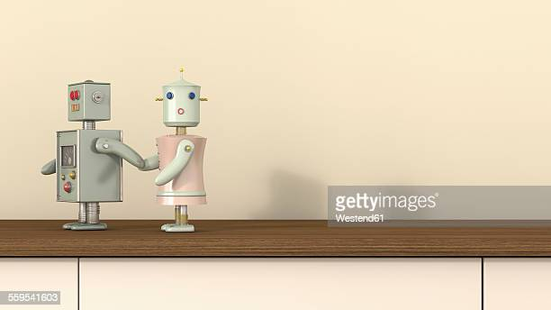 male robot holding female robot's hand, 3d rendering - following stock illustrations