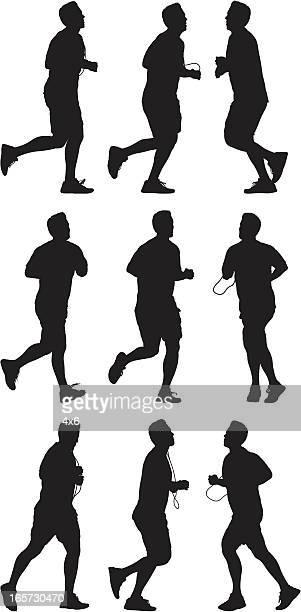 ilustraciones, imágenes clip art, dibujos animados e iconos de stock de macho corredores en acción - color tipo de imagen