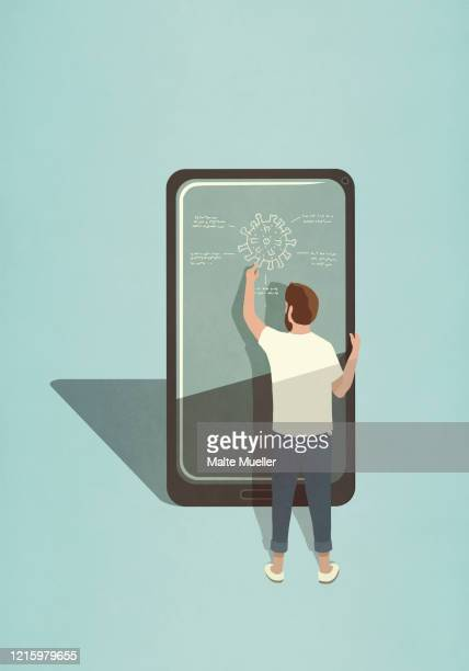 male scientist diagraming covid-19 coronavirus on large smart phone screen - rear view stock illustrations