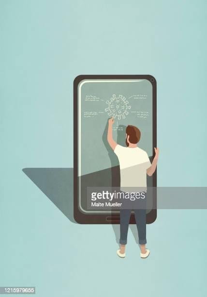 male scientist diagraming covid-19 coronavirus on large smart phone screen - technology stock illustrations