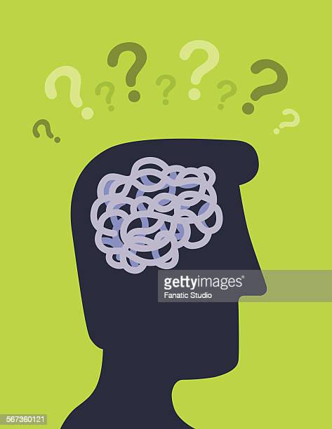 male silhouette profile picture with question mark on the head - neuroscience stock illustrations