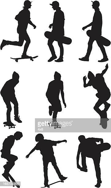 male skate boarders - image technique stock illustrations