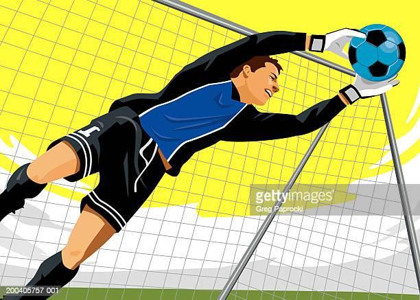 ilustraciones, imágenes clip art, dibujos animados e iconos de stock de male soccer goalie diving for ball - guantes de portero