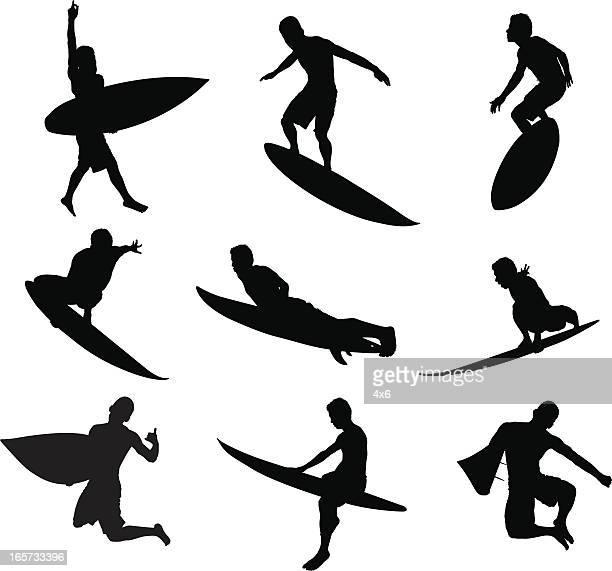 ilustraciones, imágenes clip art, dibujos animados e iconos de stock de hombre surfista triturar olas - tabla de surf