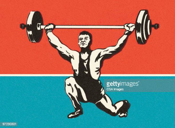 male weight lifter - weight training stock illustrations