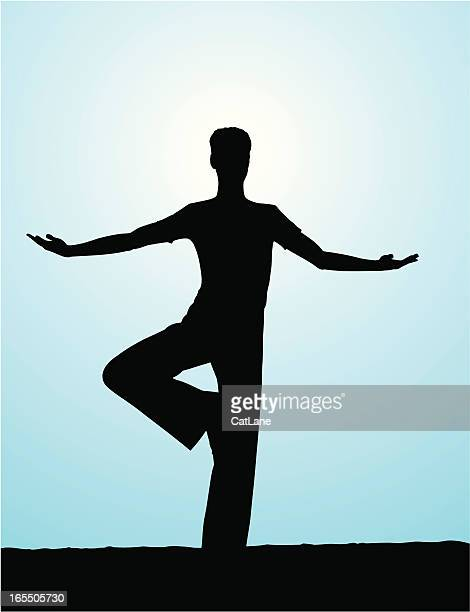 male yoga - tree pose - standing on one leg stock illustrations, clip art, cartoons, & icons
