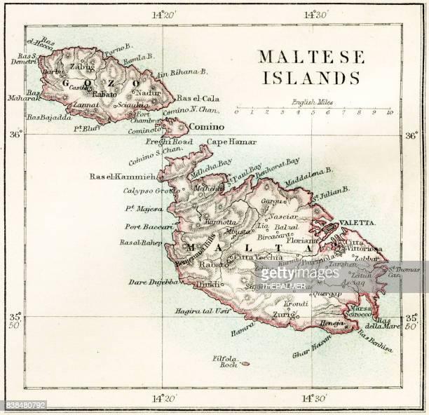 maltese islands map 1883 - malta stock illustrations