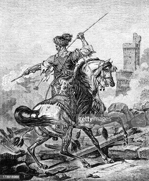 mameluke battle - cavalier cavalry stock illustrations, clip art, cartoons, & icons