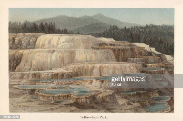 mammoth hot springs, yellostone national park, wyoming, usa, lithograph, 1897 - lithograph stock illustrations