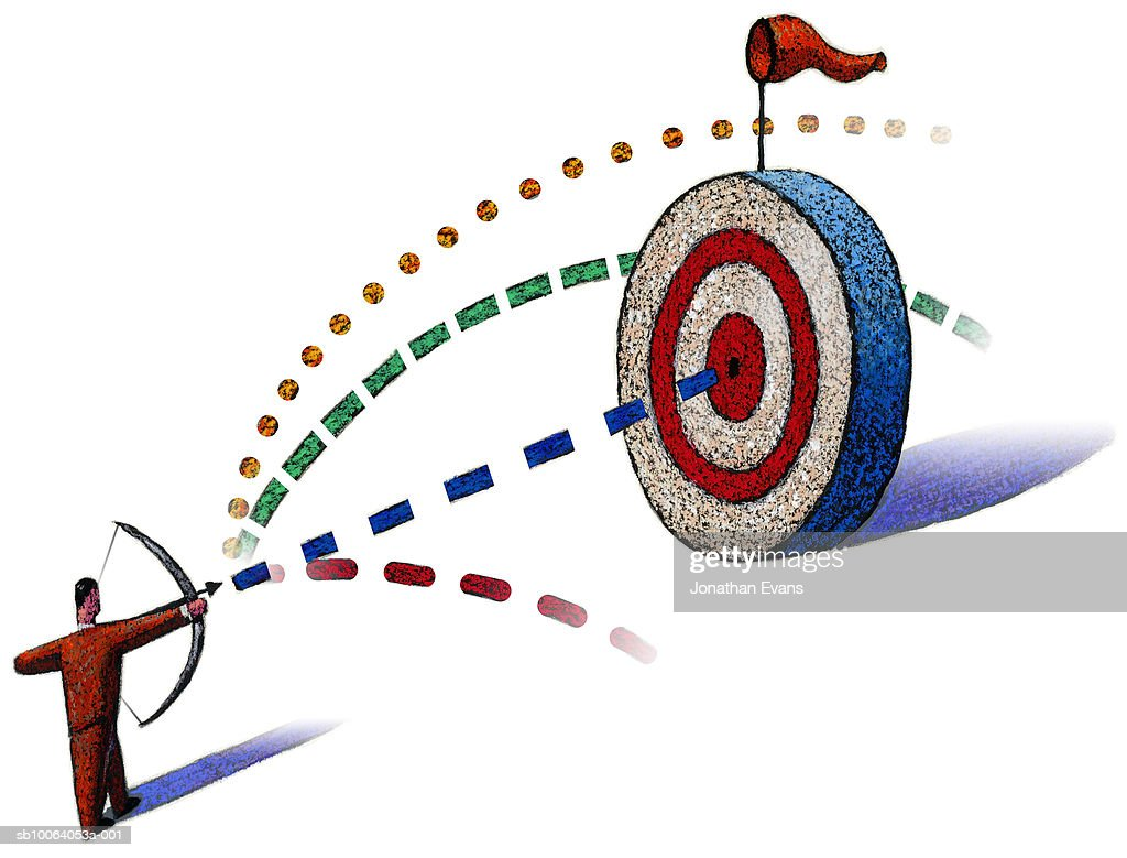 Man Aiming Arrow At Target With Dotted Lines Between Them Stock Illustration