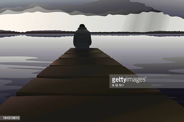 man alone at the lake - overcast stock illustrations, clip art, cartoons, & icons