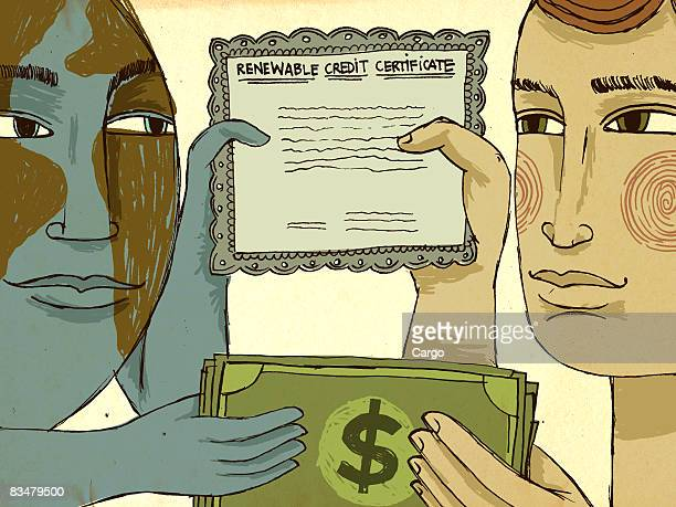 ilustraciones, imágenes clip art, dibujos animados e iconos de stock de a man and a personified earth holding dollar bills and a renewable credit certificate - capitalismo