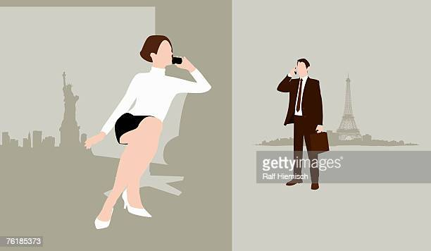 a man and a woman in separate cities using mobile phones - france stock illustrations
