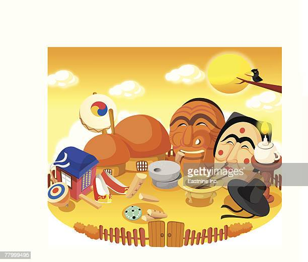 man and a woman in the courtyard of huts - {{relatedsearchurl('racing')}} stock illustrations, clip art, cartoons, & icons