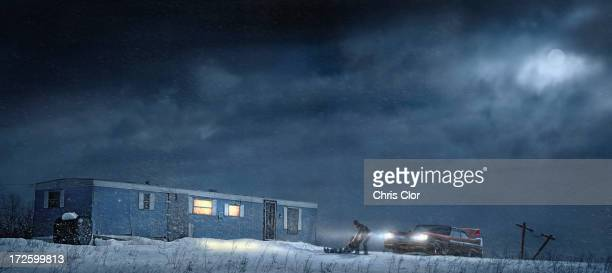 man and car parked by illuminated trailer - blizzard stock illustrations
