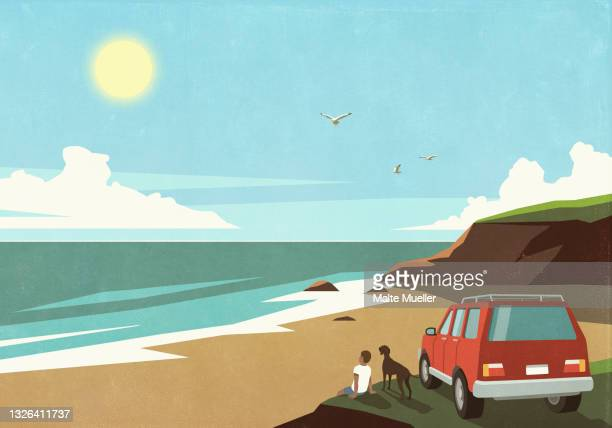 man and dog enjoying sunny beach view outside car - leisure activity stock illustrations