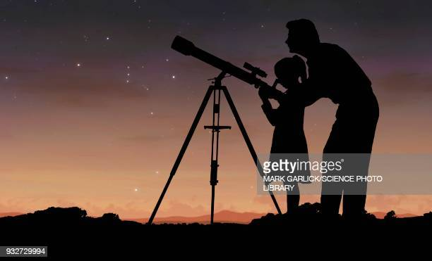man and girl using telescope, illustration - staring stock illustrations