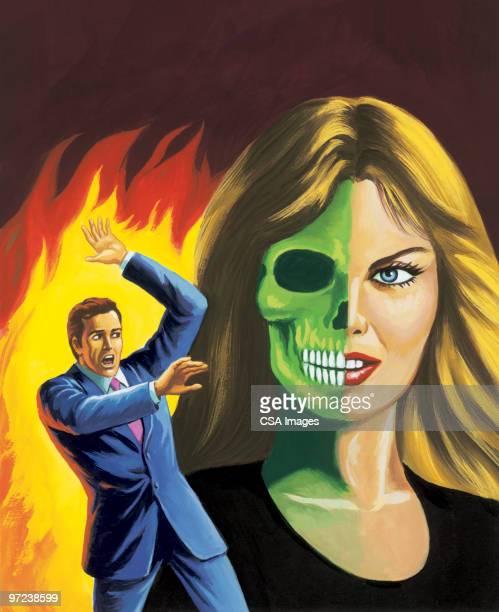 man and half zombie woman - victim stock illustrations