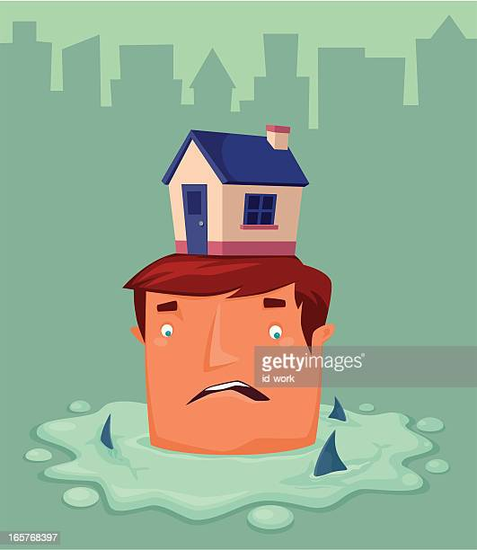 man and house - puddle stock illustrations, clip art, cartoons, & icons