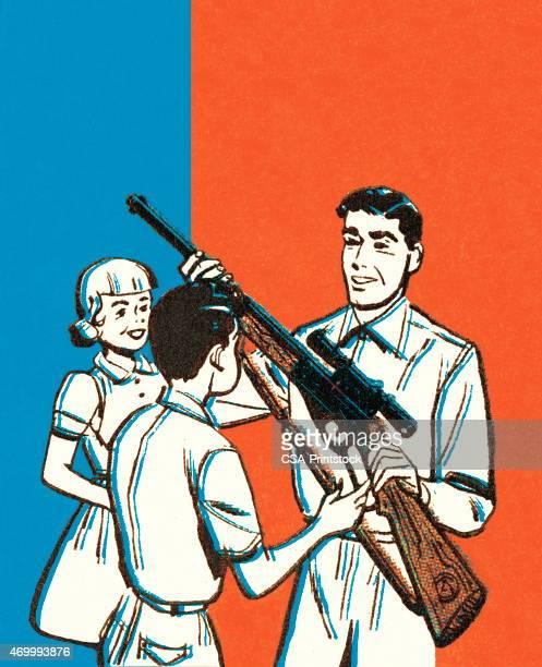 ilustraciones, imágenes clip art, dibujos animados e iconos de stock de hombre y niños con escopetas - maltrato infantil
