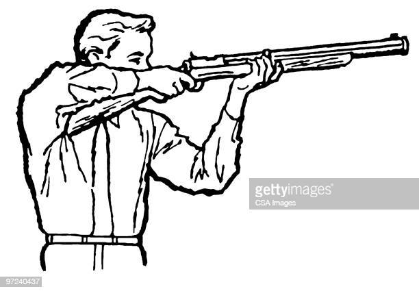 man and rifle - sports target stock illustrations