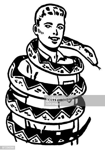 man and snake - one young man only stock illustrations