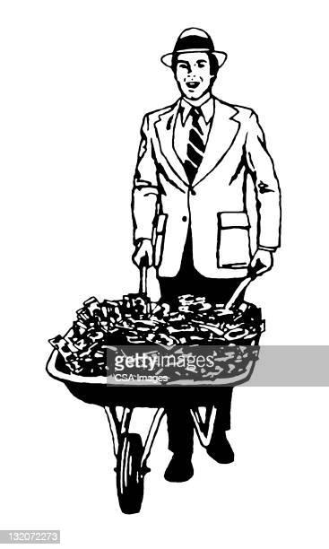 man and wheelbarrow of cash - wheelbarrow stock illustrations, clip art, cartoons, & icons