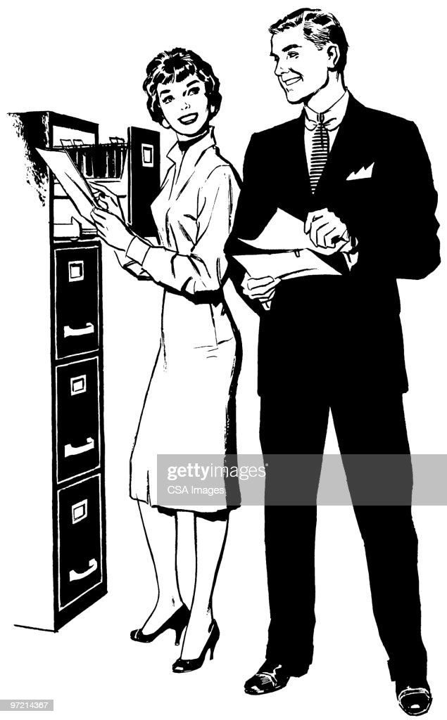 Man and Woman at File Drawer : stock illustration