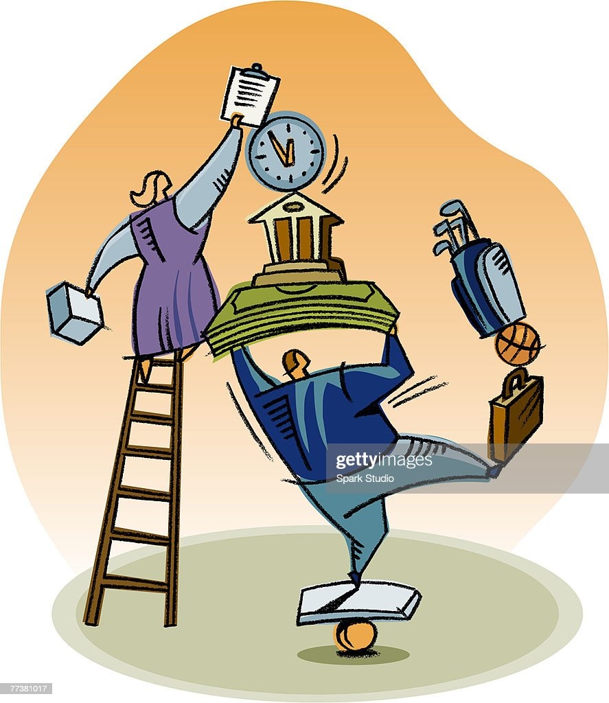 A man and woman balancing work and life : Stock Illustration