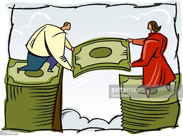 a man and woman building a stack of bills - wage gap stock illustrations