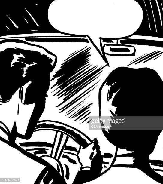 Man and Woman Driving With Speech Balloon