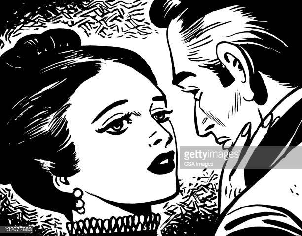 man and woman embracing - updo stock illustrations, clip art, cartoons, & icons