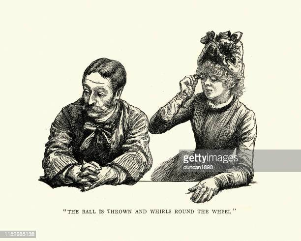 man and woman gambling in a monte carlo casino, 1886 - monte carlo stock illustrations, clip art, cartoons, & icons