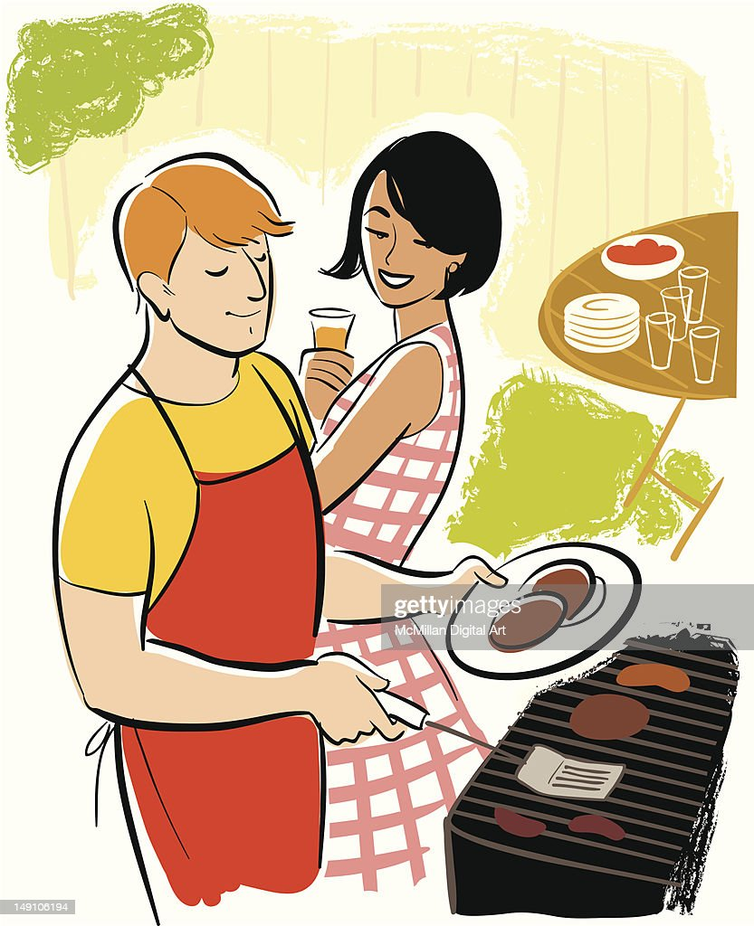 Man and woman grilling meat on BBQ : Vector Art